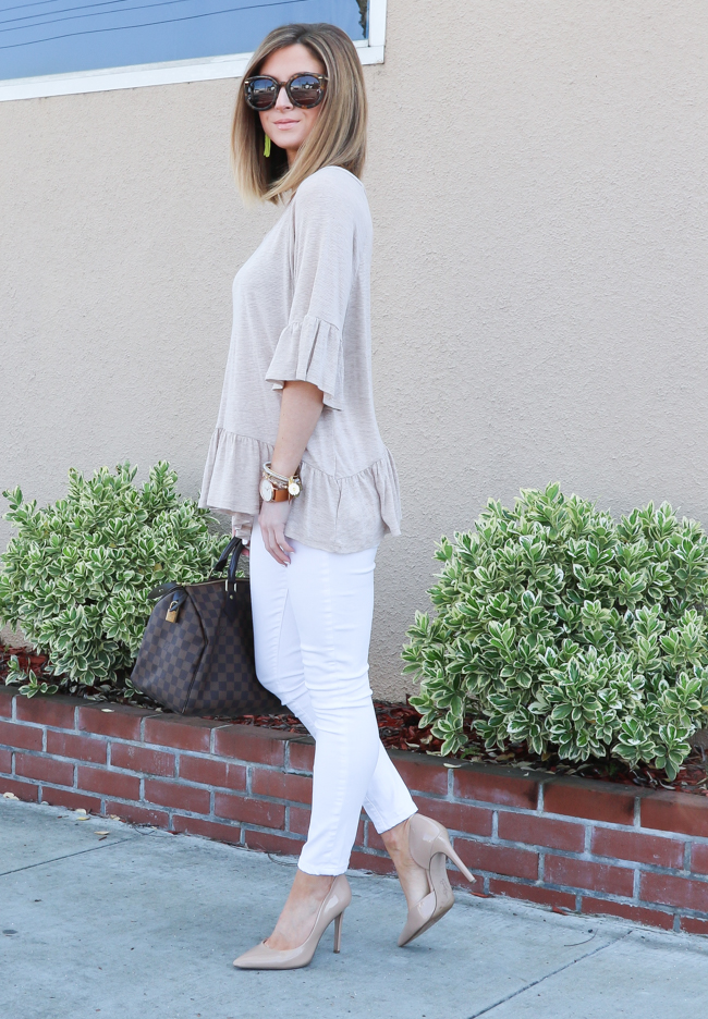 Casual cream ruffle top for spring work wardrobe