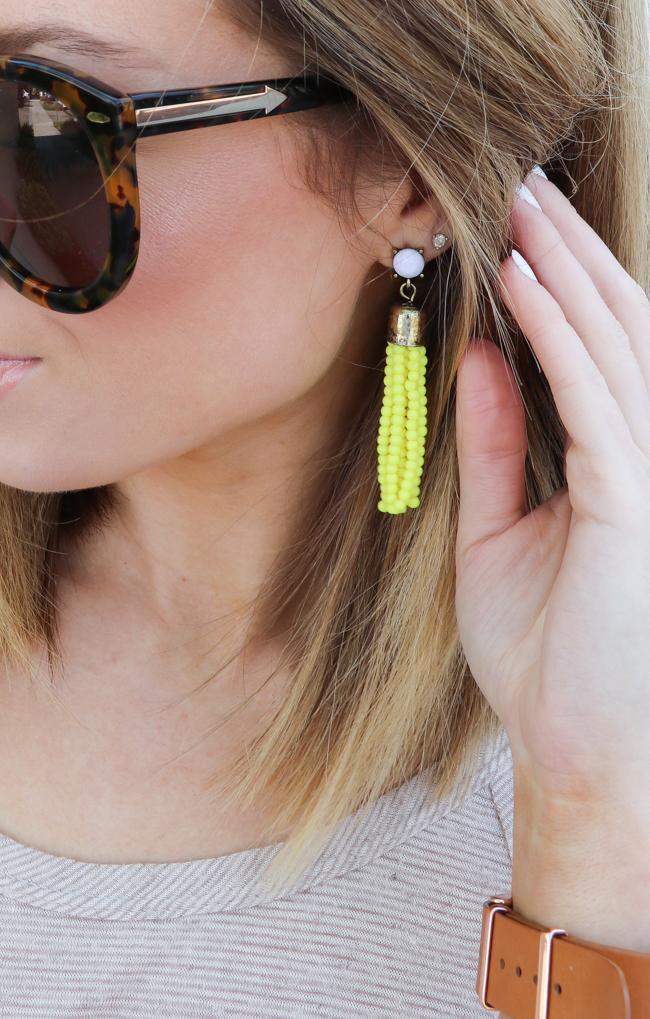 Bright yellow tassel earrings for spring