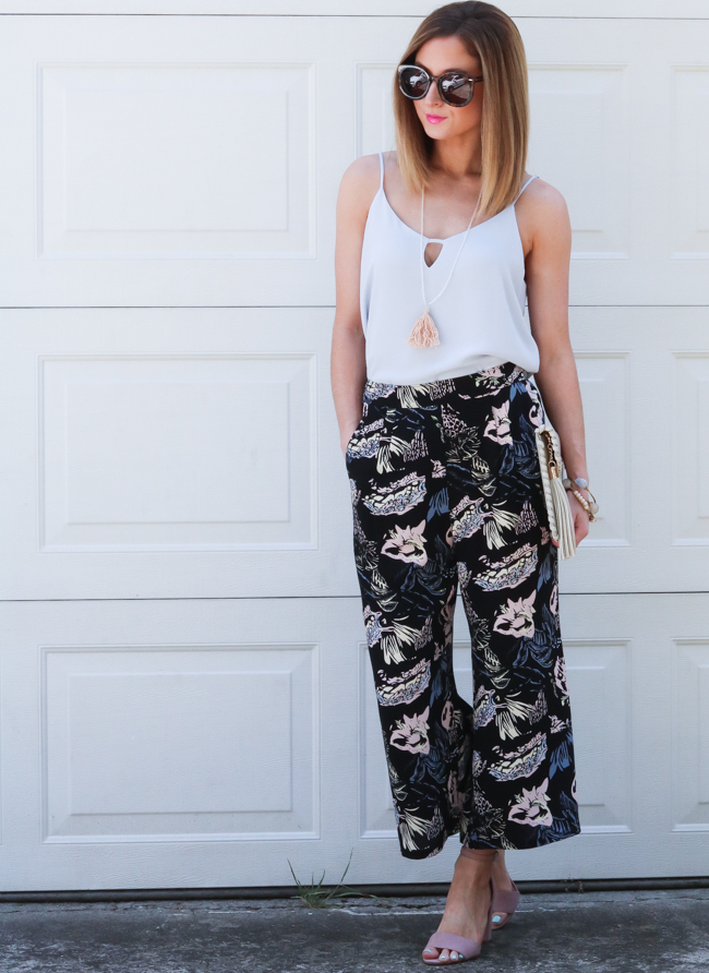 printed pants paired with tank and sandals