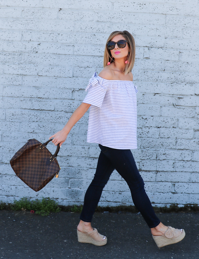 striped bow off the shoulder top and bow espadrille mules