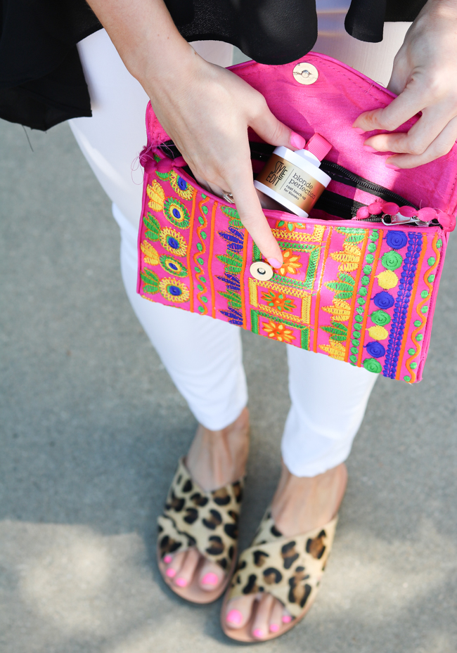style edit blonde perfection root touch-up in bright pink clutch leopard sandals
