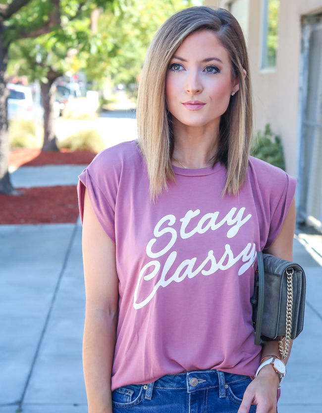 stay classy roll cuff tee me&you boutique