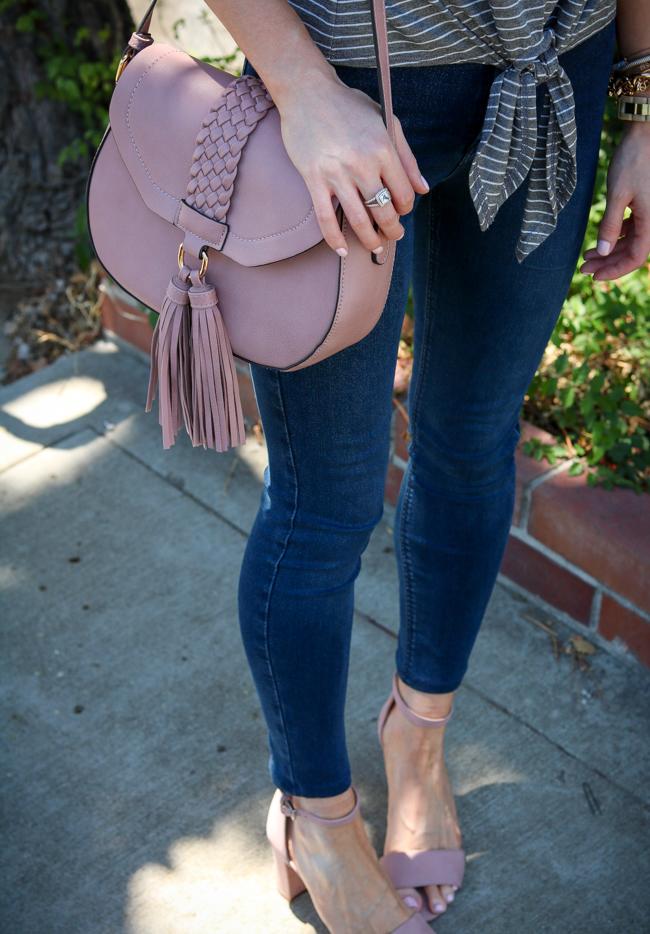 tassel cross body bag tie front tee skinny jeans heeled sandals