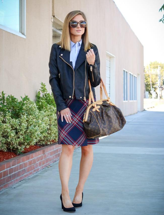 nordstrom anniversary sale 2017 leather jacket plaid skirt