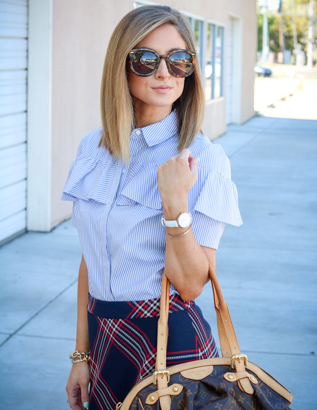halogen blue and white ruffle shirt