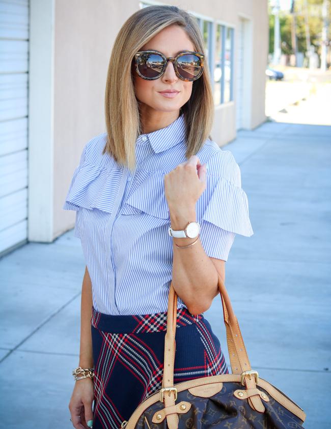 halogen blue and white ruffle shirt