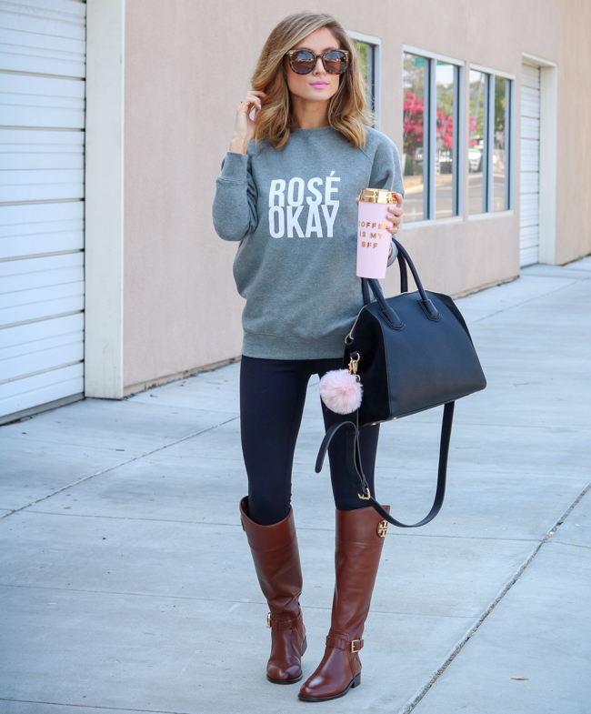 rose okay sweatshirt high waist legging tory burch boots