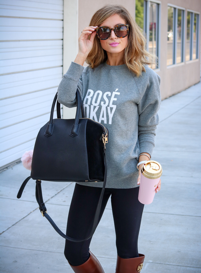 rose okay sweatshirt high waist legging sole society tote