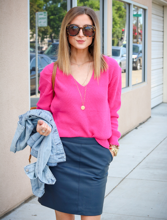 bp. pink sweater topshop navy skirt