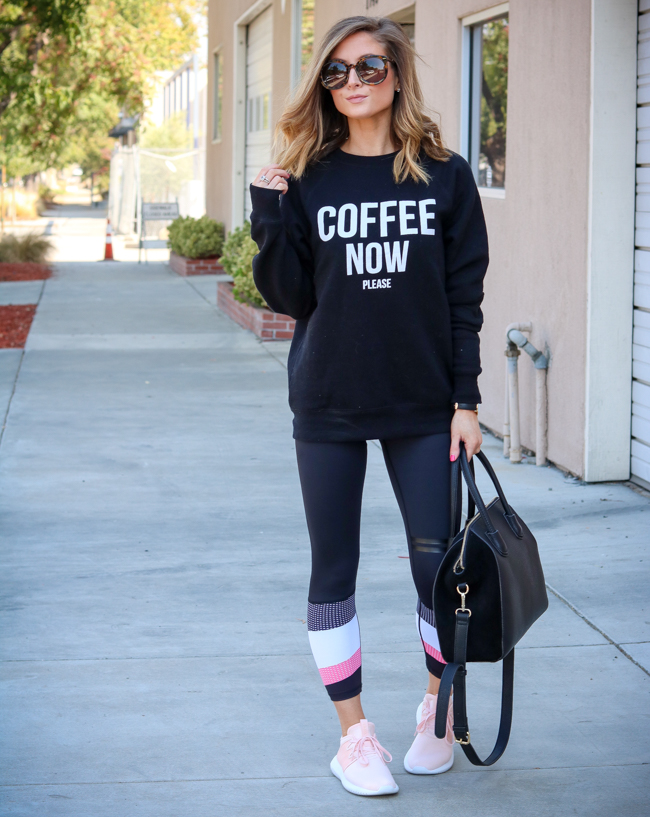 brunette the label coffee now please sweatshirt with lilybod leggings