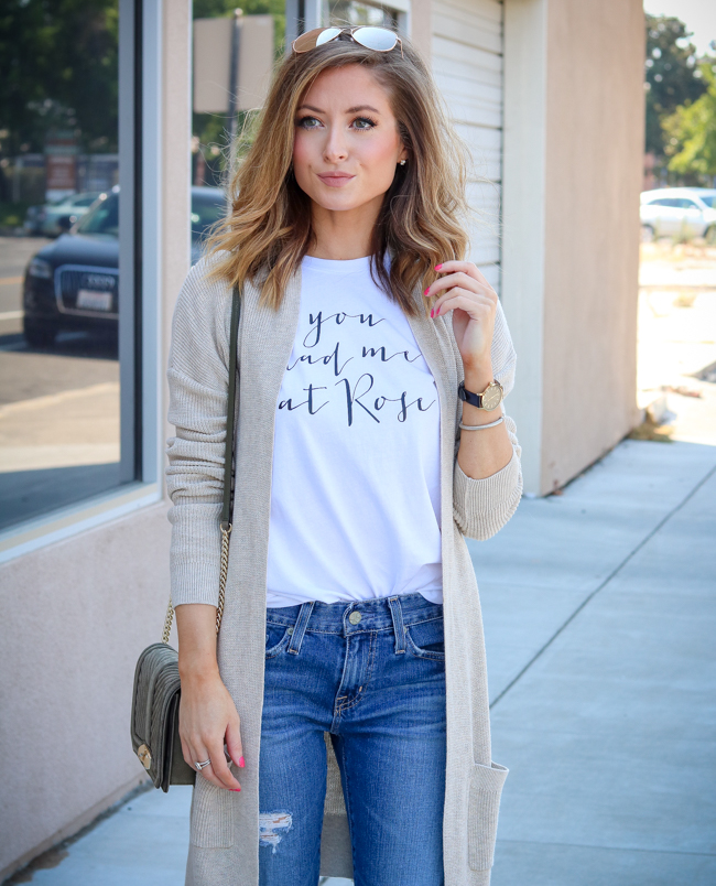 you had me at rose tee with boyfriend jeans and cream cardigan