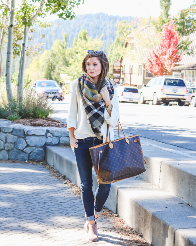 ilymix plaid blanket scarf cream sweater ag jeans skinny jeans