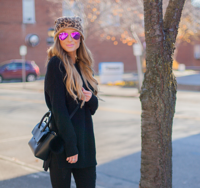 nordstrom leopard beanie with black sweater