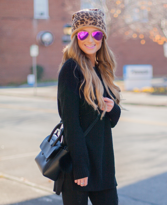 pink ray-ban aviators with nordstrom leopard beanie