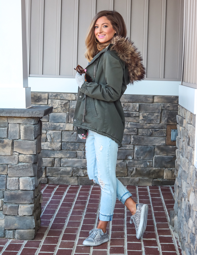 olive jacket with fur lining