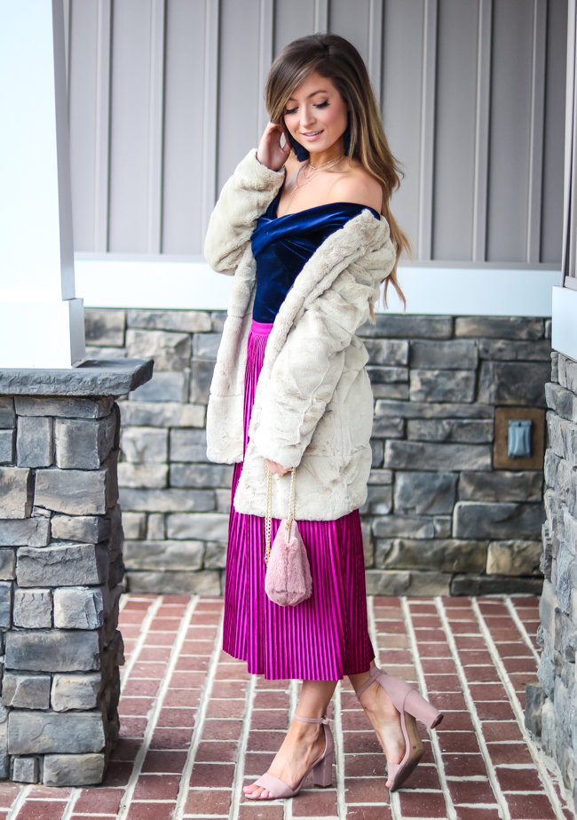 goodnight macaroon wrap off the shoulder velvet top with chenille midi skirt