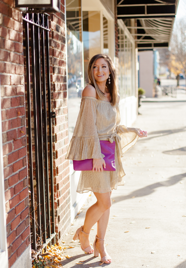 lush metallic flare sleeve off the shoulder dress