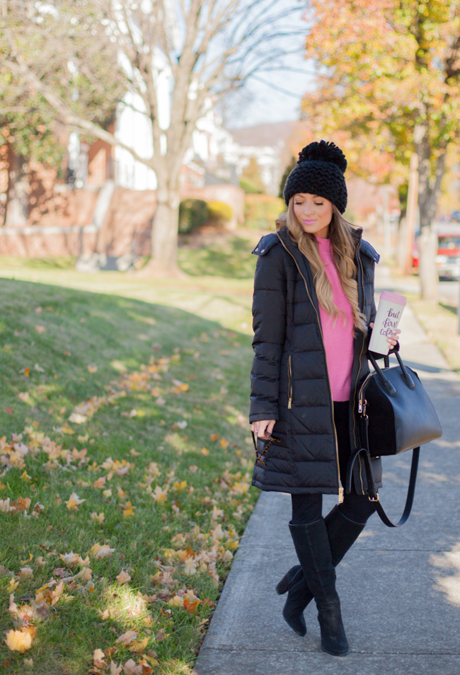 pink leith sweater with michael kors coat