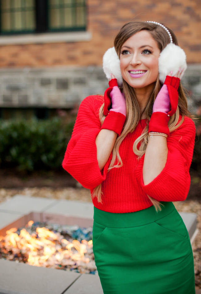 leith red bubble sleeve sweater