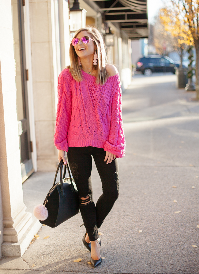 express pink Cable Knit Chenille Boat Neck Balloon Sleeve Sweater