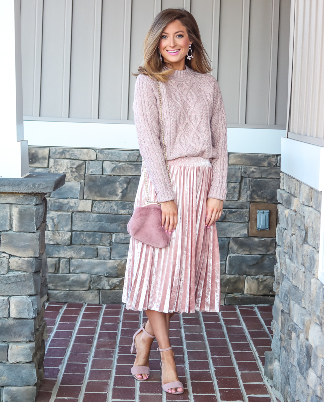 abercrombie mock neck cable sweater with target velvet skirt