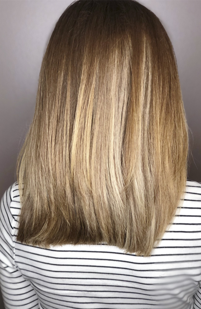 blended balayage angled hair cut