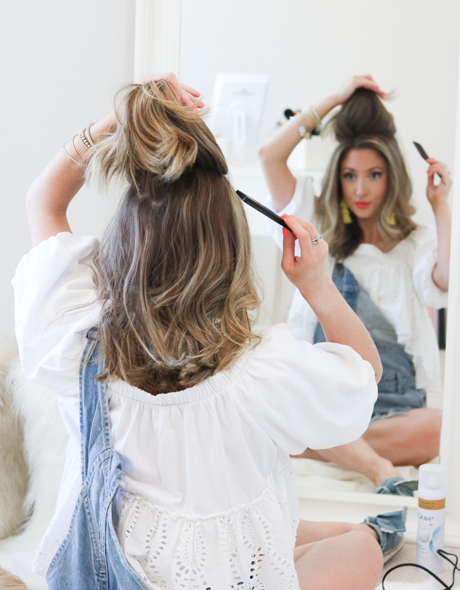 teasing hair with comb