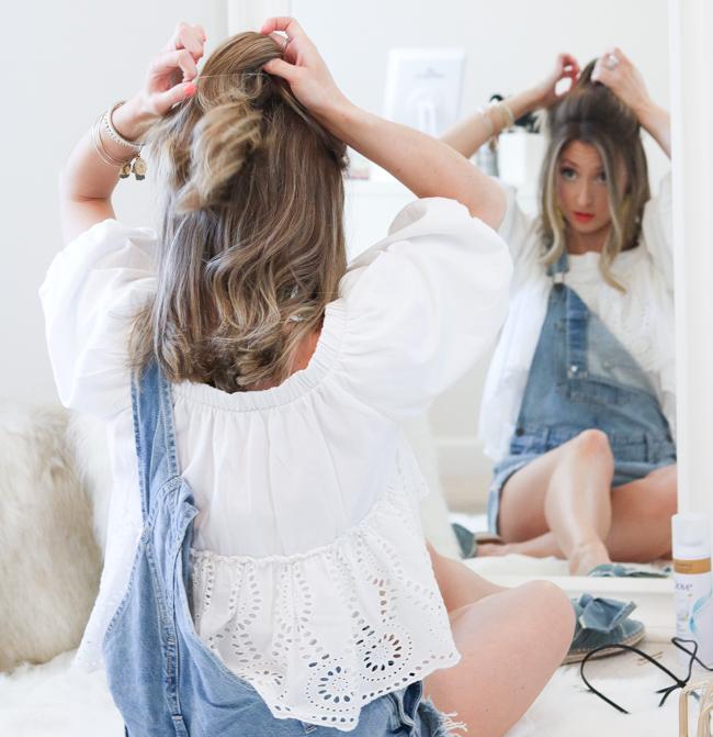 styling half-up hairdo