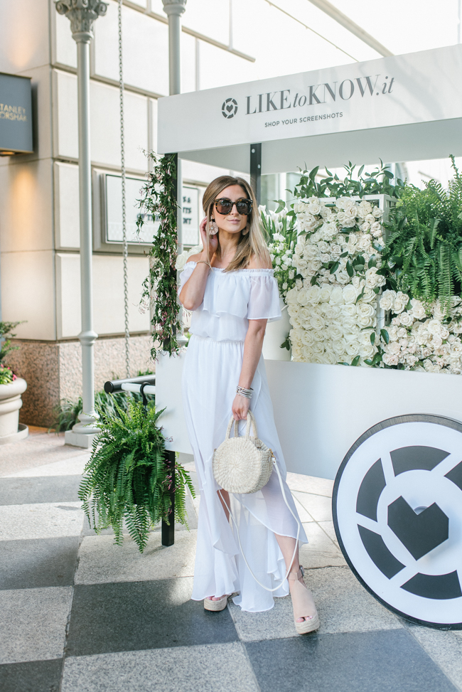 express white off the shoulder fit and flare maxi dress