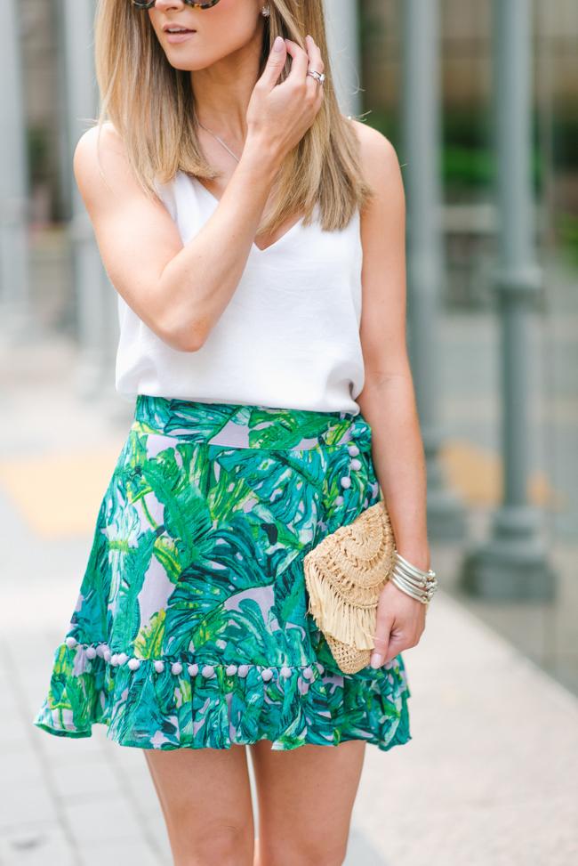 revolve lovers + friends lilac palm alicia skirt