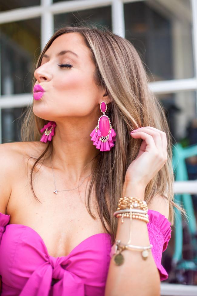 kendra scott pink statement agate earrings