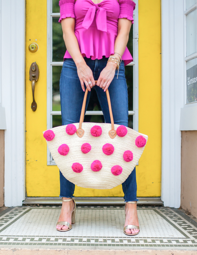 nordstrom shiraleah pink pom straw tote