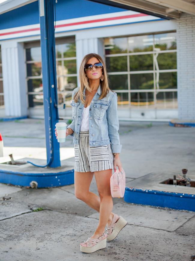 nordstrom bp. stripe linen blend shorts
