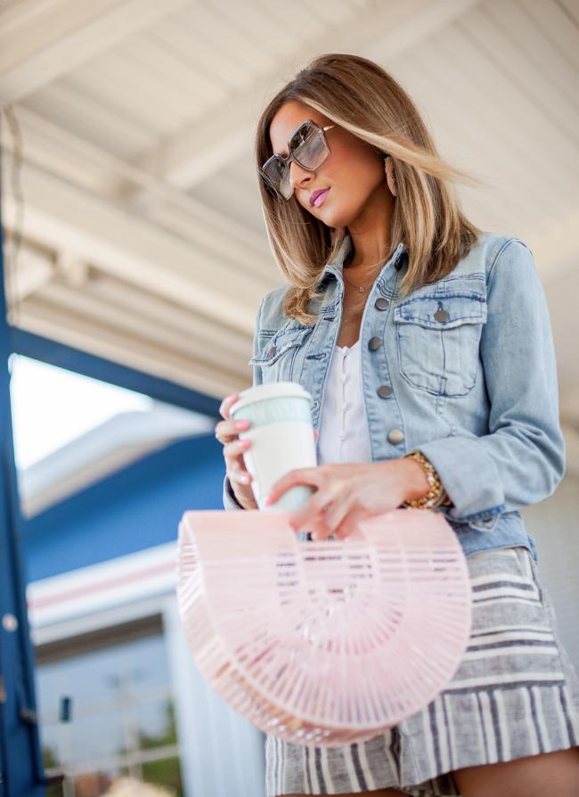 cult gaia pink small arc bag