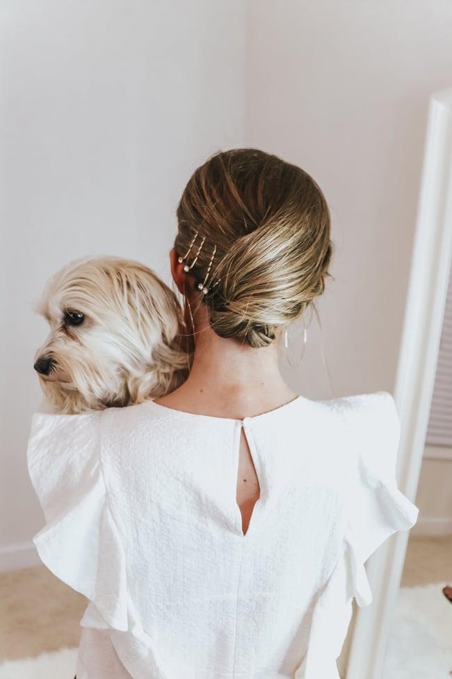 holding a morkie dog
