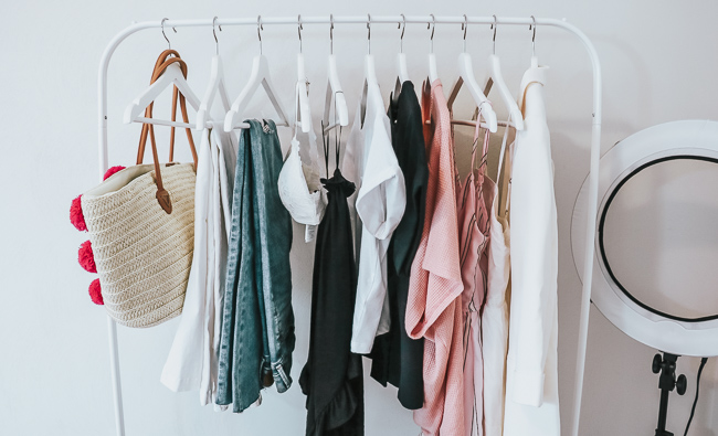 clothing on clothes rack