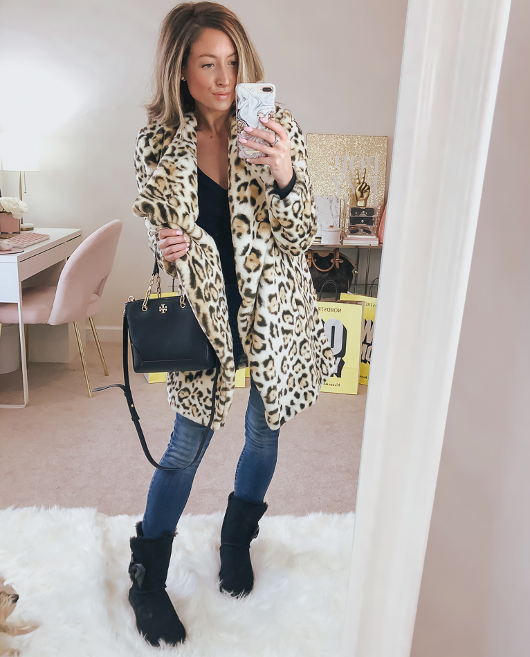 nordstrom bb dakota leopard faux fur jacket