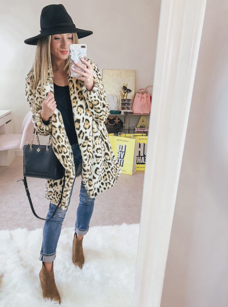 nordstrom bb dakota faux fur leopard jacket