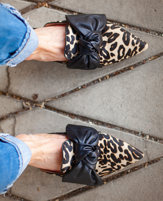 nordstrom anniversary sale louise et cie genuine calf hair leopard bow slides