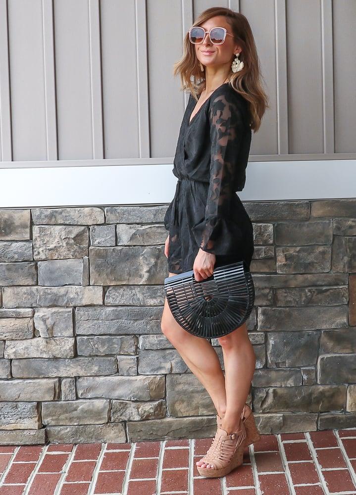 francescas black lace wrap romper
