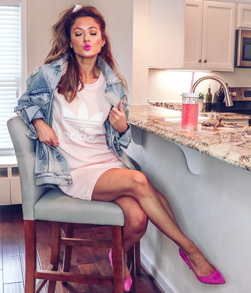ebay adidas trefoil tee dress icey pink