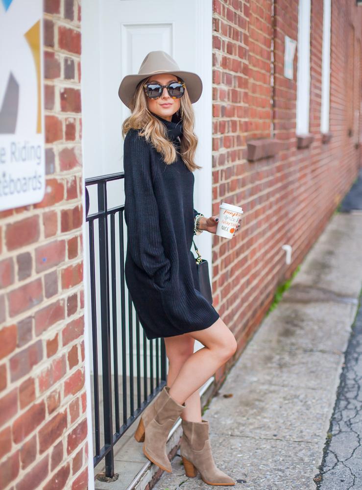 amazon black pink queen women's loose oversize turtleneck wool long pullover sweater dress