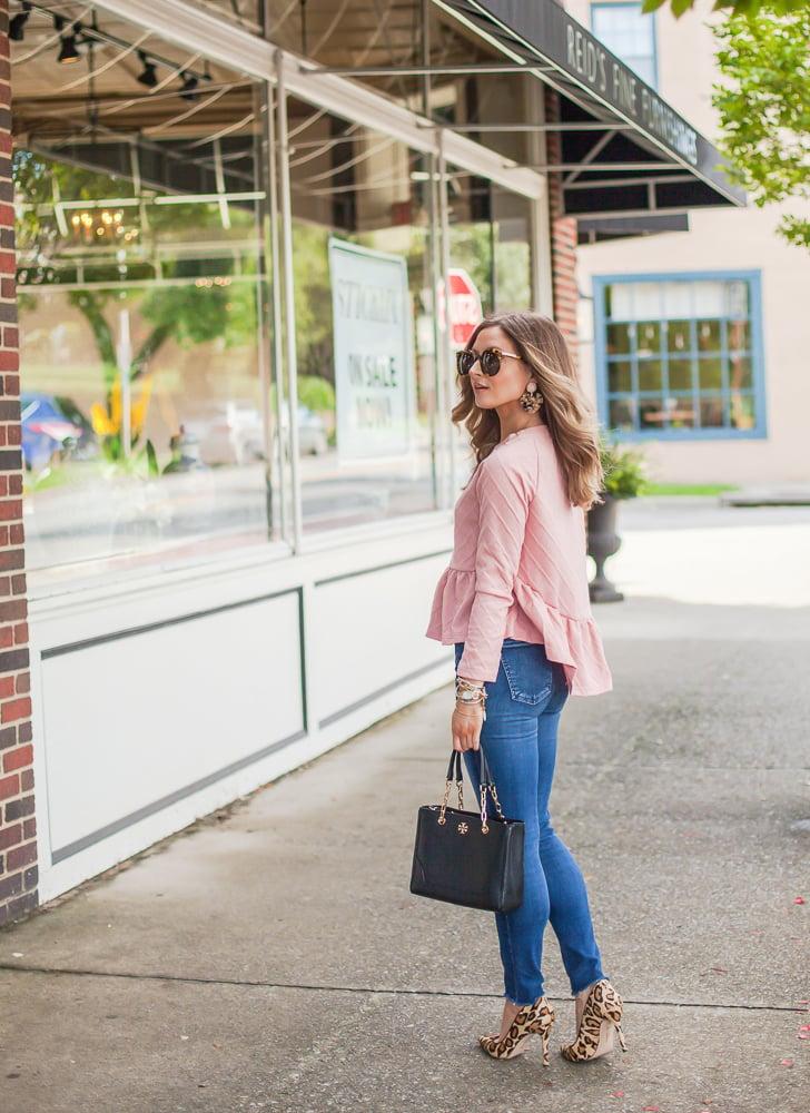 pink shein loose round neck raglan long sleeve ruffle high low hem smock top