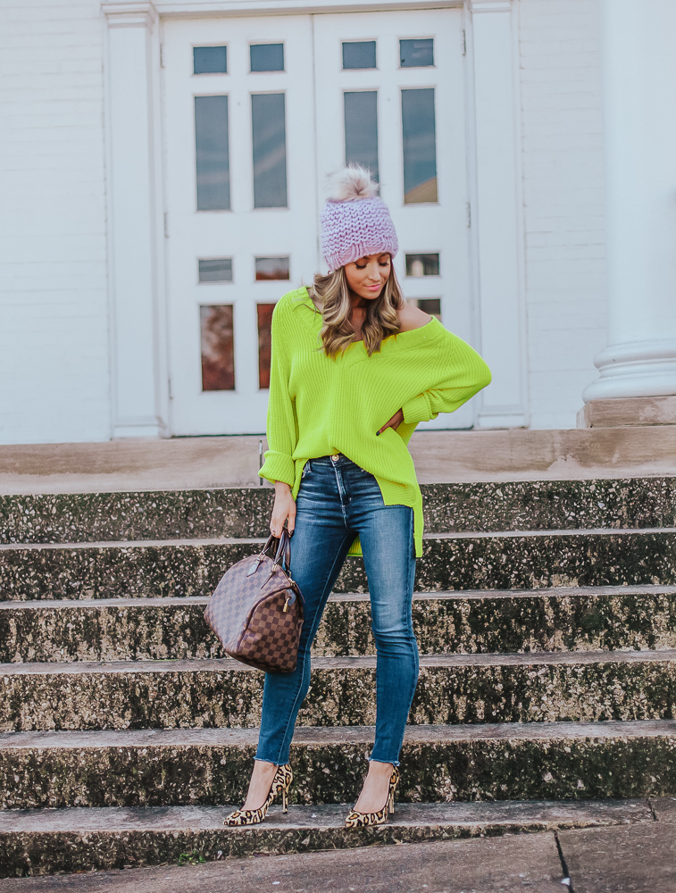express yellow oversized shaker knit deep v neck tunic sweater