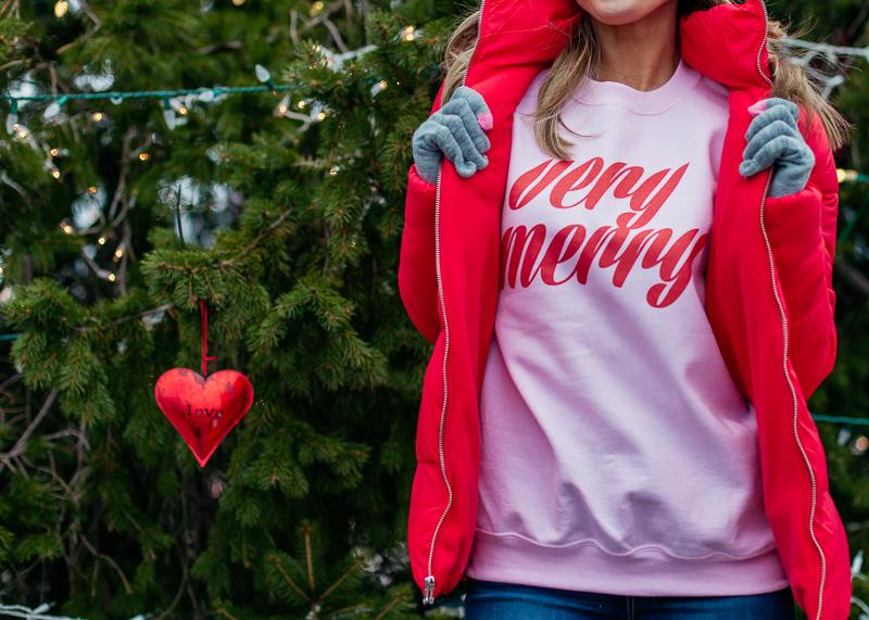 united monograms pink very merry sweatshirt