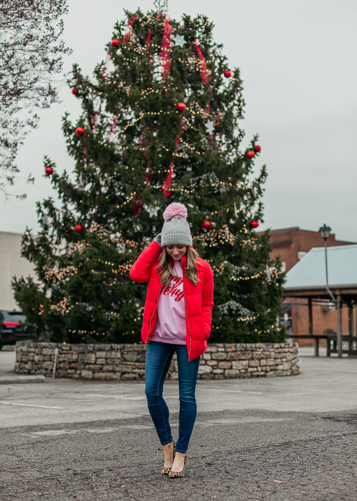 old navy red frost free puffer jacket