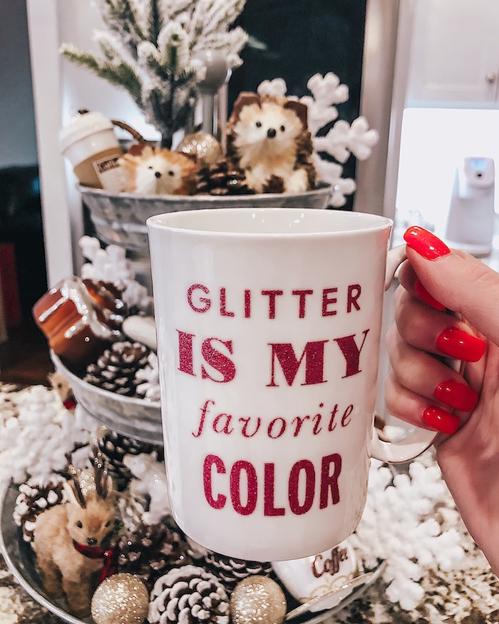 kate spadeglitter is my favorite color coffee mug