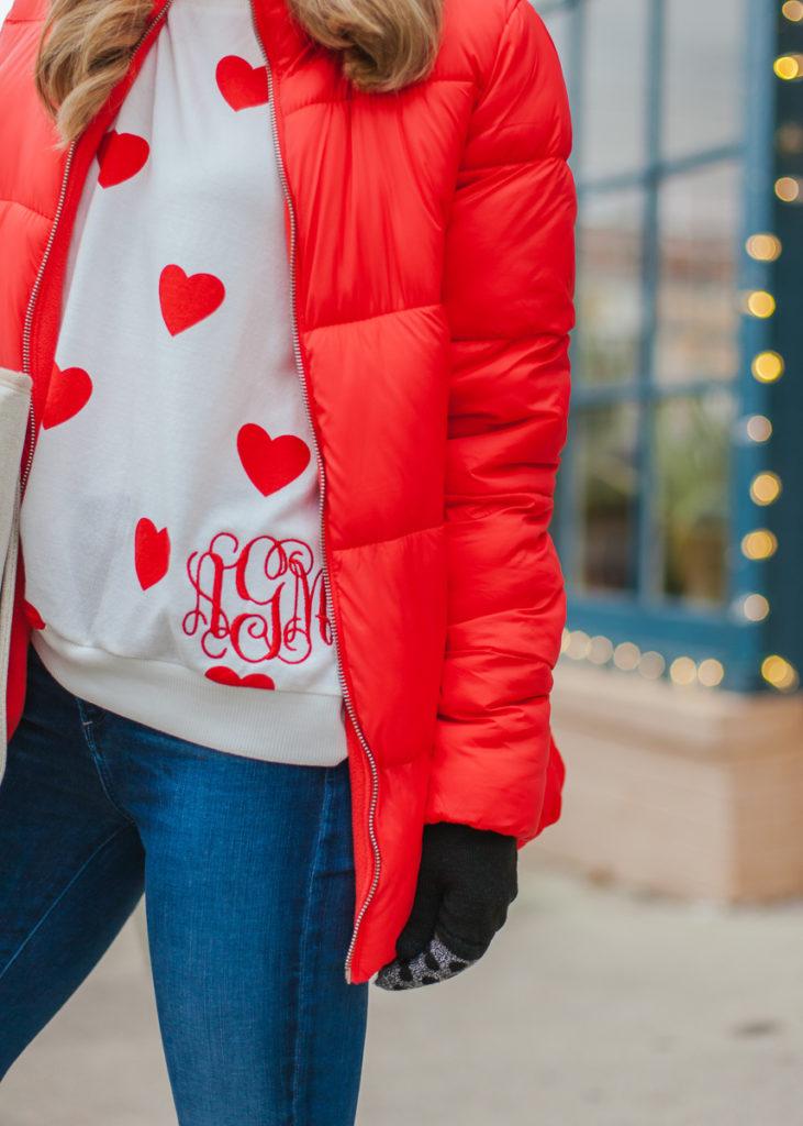 i love jewelry monogrammed heart sweater