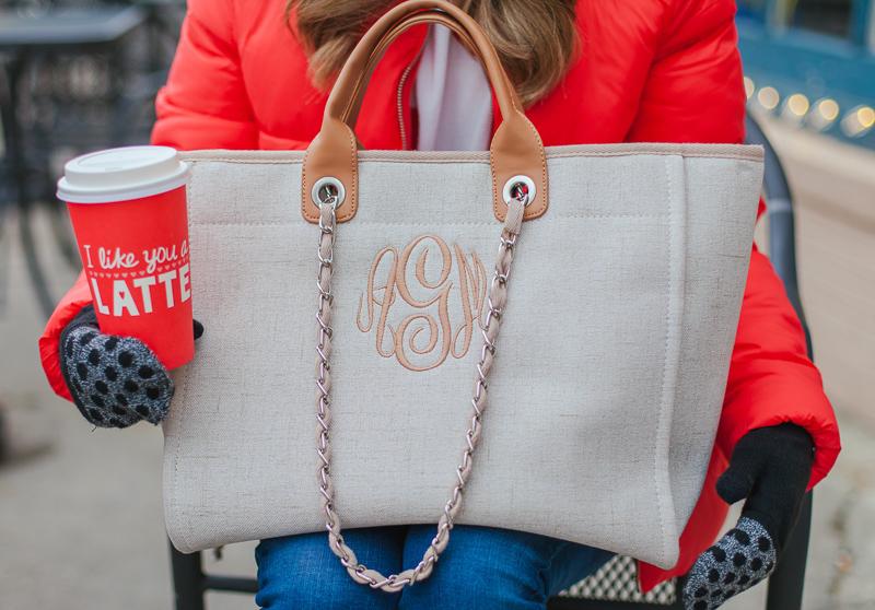 i love jewelry monogrammed tweed bag