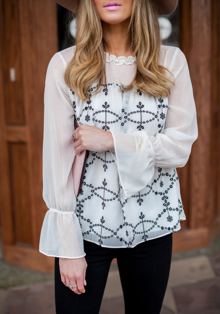 nordstrom cece mixed media embroidered detail blouse